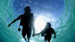 scuba diving in cenote, riviera maya couples
