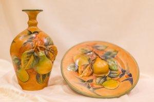 jarrón con plato de cerámica artesanal mayólica santa rosa
