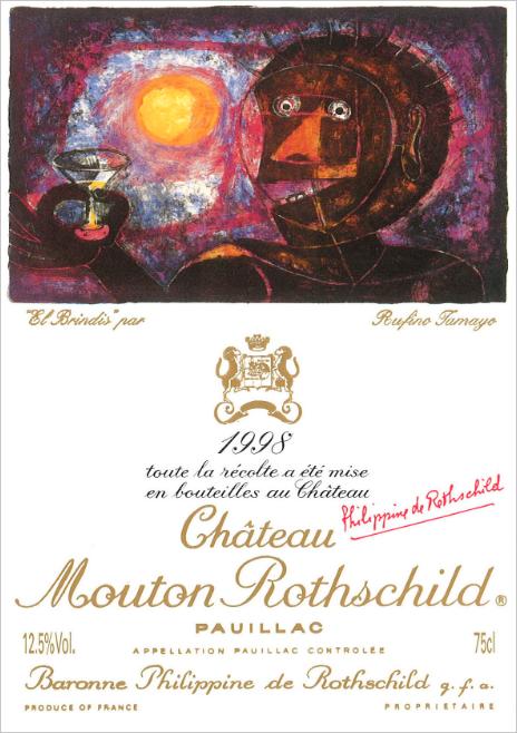 Label of Chateau Mouton Rothschild wine