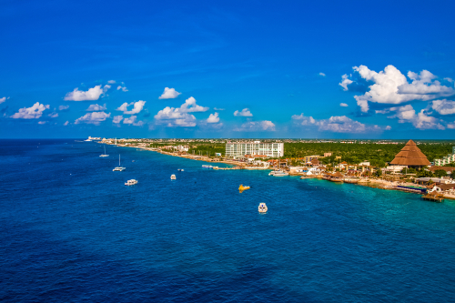 Panoramic view of Cozumel in Quintana Roo Mexico
