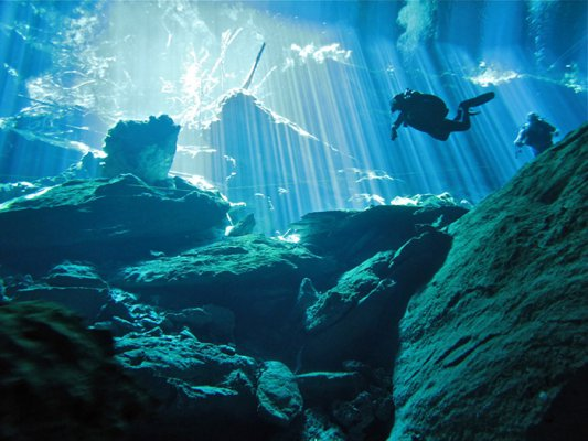 Chac Mool cenote located in the Cenotes Route in Playa del Carmen in Riviera Maya