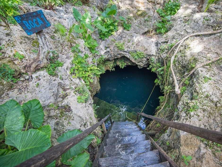 Siete Bocas cenote located in the Cenotes Route in Playa del Carmen in the Riviera Maya