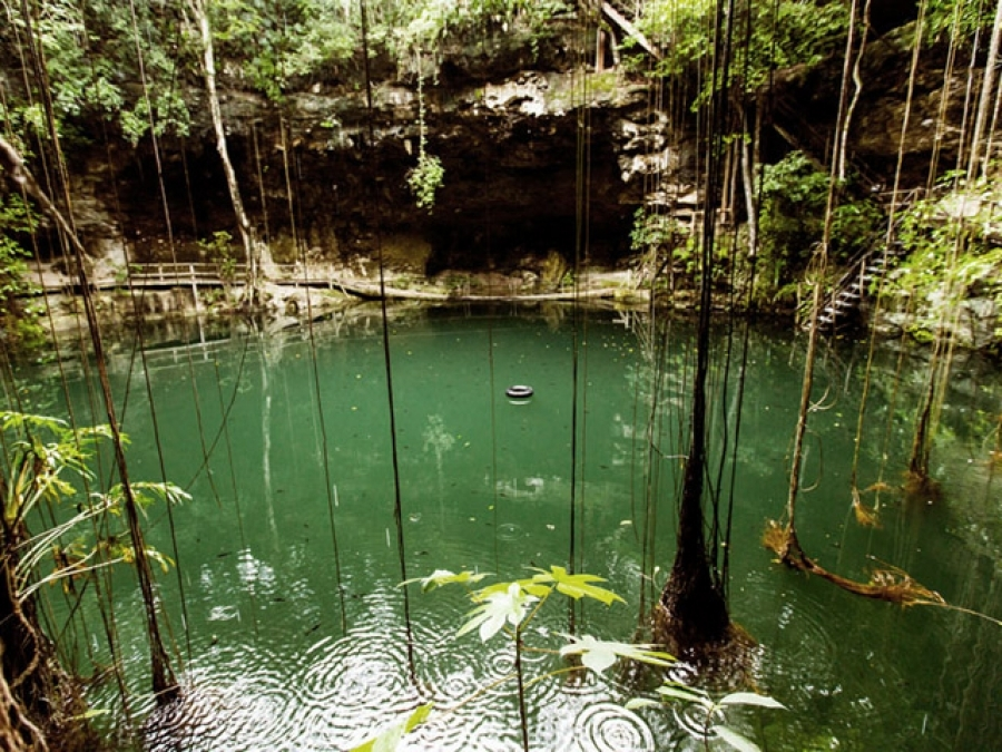 Xcanche cenote located in the archaeological site Ek Balam in the Riviera Maya in the colonial city of Valladolid in Yucatan