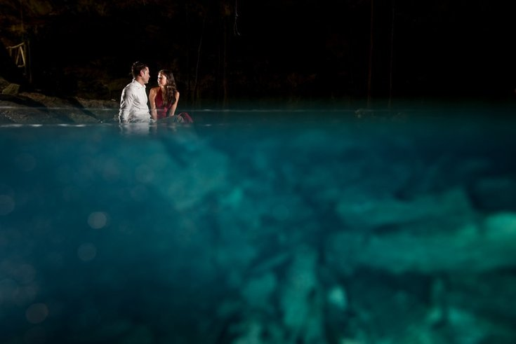Couple at a cenote in Riviera Maya